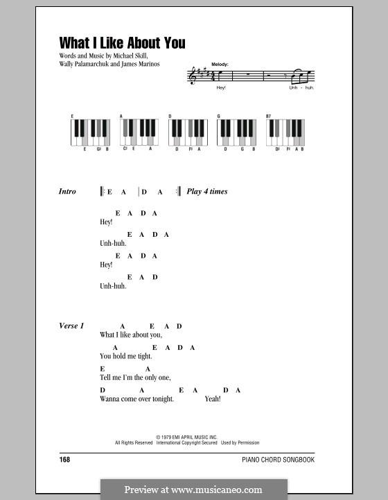 What I Like About You (The Romantics): Lyrics and piano chords by James Marinos, Michael Skill, Wally Palamarchuk