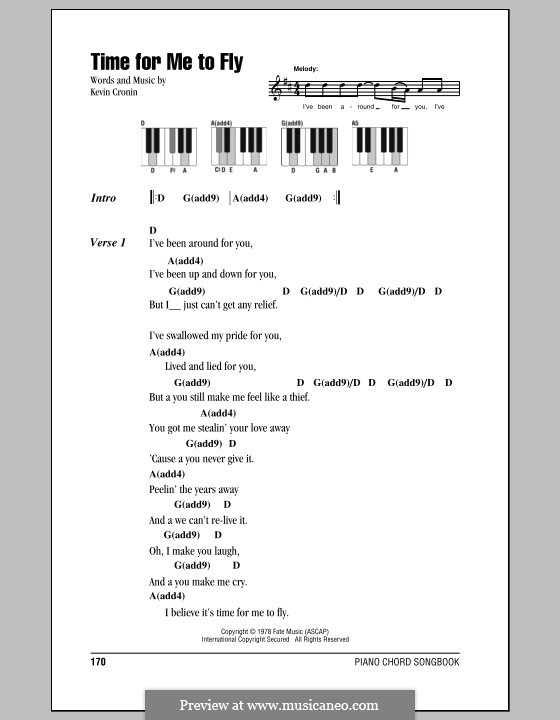 Time for Me to Fly (REO Speedwagon): Lyrics and piano chords by Kevin Cronin