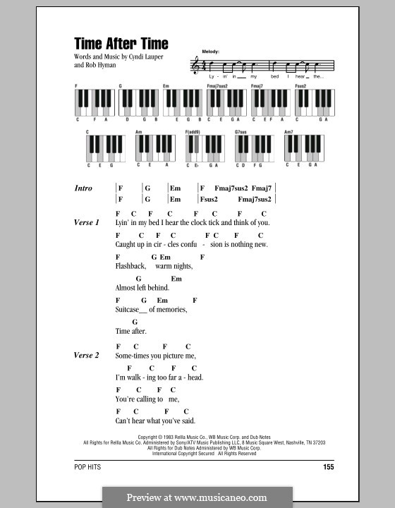 Time after Time: Lyrics and piano chords by Cyndi Lauper, Robert Hyman