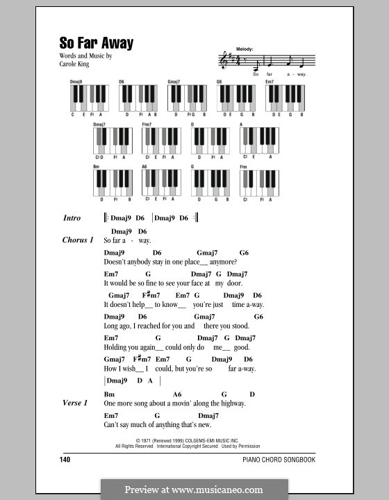 So Far Away: Lyrics and piano chords by Carole King