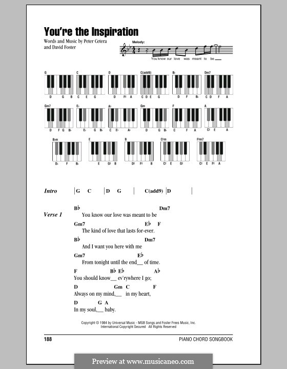 You're the Inspiration (Chicago): Lyrics and piano chords by David Foster, Peter Cetera