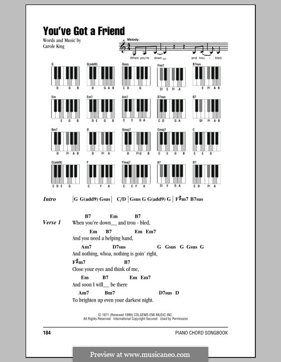You've Got a Friend: Lyrics and piano chords by Carole King