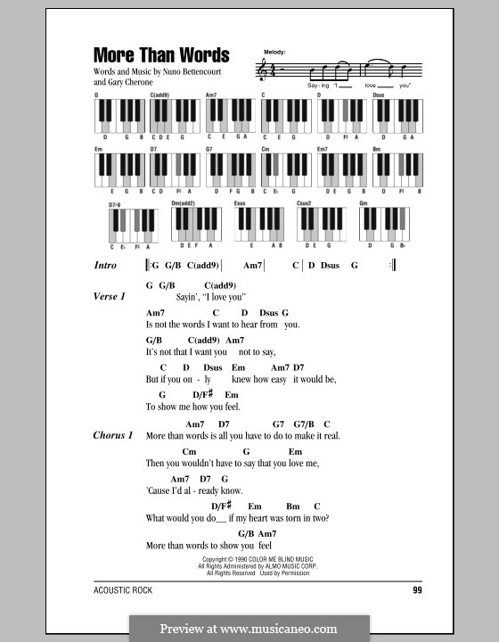 More Than Words (Extreme): Lyrics and piano chords by Gary Cherone, Nuno Bettencourt