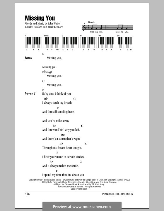 Missing You (John Waite): Lyrics and piano chords by Charles Sanford, Mark Leonard