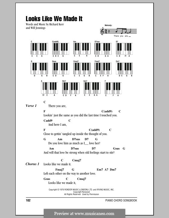 Looks Like We Made It: Lyrics and piano chords by Richard Kerr, Will Jennings