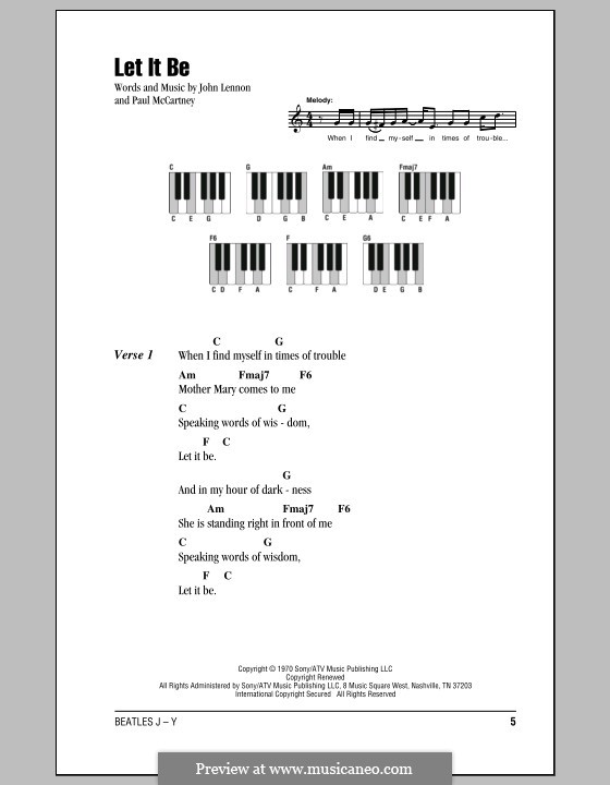 Let it Be (The Beatles): Lyrics and piano chords by John Lennon, Paul McCartney