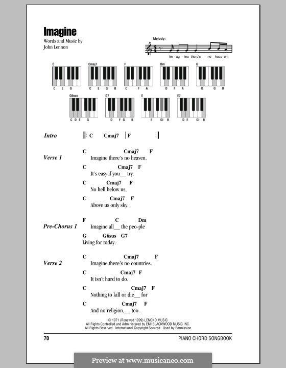 Imagine: Lyrics and piano chords by John Lennon
