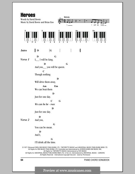Heroes: Lyrics and piano chords by Brian Eno, David Bowie