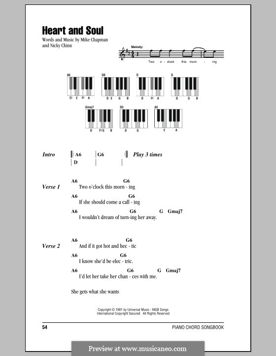 Heart and Soul (Huey Lewis and The News): Lyrics and piano chords by Mike Chapman, Nicky Chinn