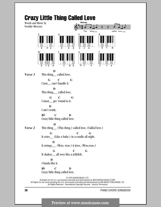 Crazy Little Thing Called Love (Queen): Lyrics and piano chords by Freddie Mercury