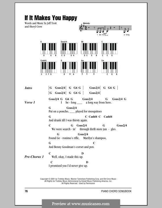 If It Makes You Happy: Lyrics and piano chords by Jeffrey Trott, Sheryl Crow