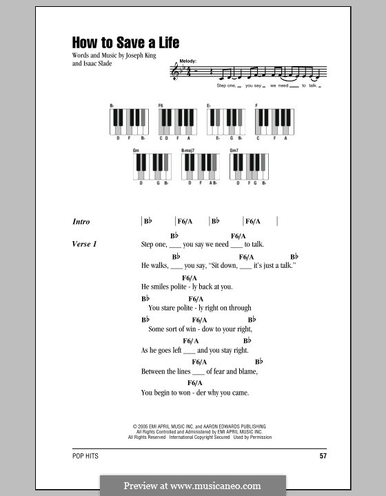 How to Save a Life (The Fray): Lyrics and piano chords by Isaac Slade, Joseph King