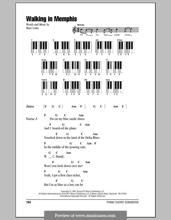 Walking in Memphis: Lyrics and piano chords by Marc Cohn