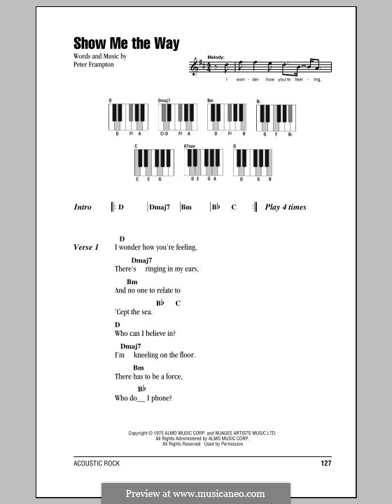 Show Me the Way by P. Frampton - sheet music on MusicaNeo