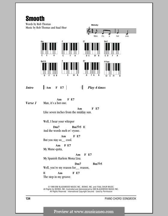 Smooth (Santana featuring Rob Thomas): Lyrics and piano chords by Itaal Shur, Rob Thomas