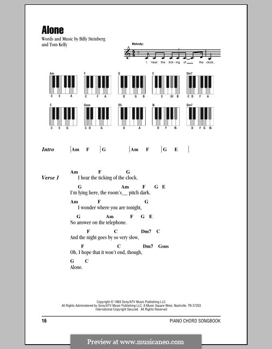 Alone: Lyrics and piano chords (Heart) by Billy Steinberg, Tom Kelly