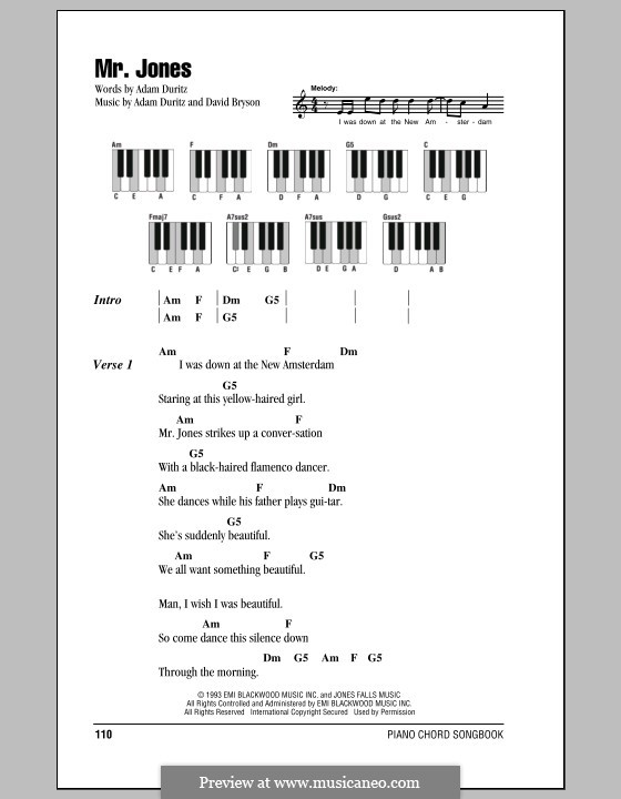 Mr. Jones (Counting Crows): Lyrics and piano chords by Adam F. Duritz, David Bryson