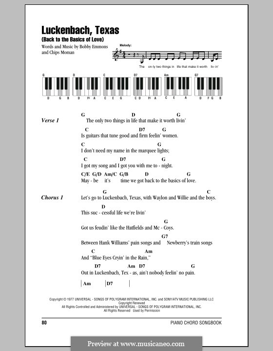 Luckenbach, Texas (Back to the Basics of Love): Lyrics and piano chords by Bobby Emmons, Chips Moman