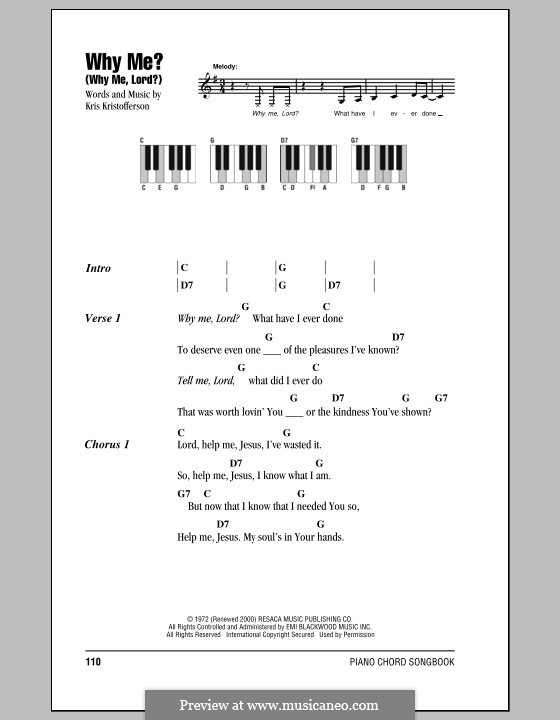 Why Me? (Why Me, Lord?): Lyrics and piano chords by Kris Kristofferson