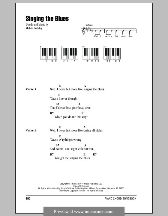 Singing the Blues: Lyrics and piano chords (Guy Mitchell) by Melvin Endsley