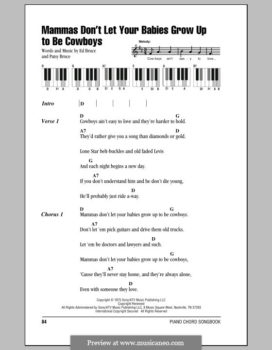 Mammas don't Let Your Babies Grow Up To Be Cowboys (Waylon Jennings & Willie Nelson): Lyrics and piano chords by Ed Bruce, Patsy Bruce