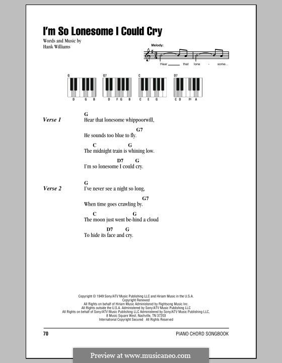I'm So Lonesome I Could Cry: Lyrics and piano chords by Hank Williams