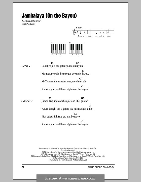 Jambalaya (On the Bayou): Lyrics and piano chords by Hank Williams