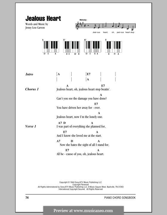 Jealous Heart (Tex Ritter): Lyrics and piano chords by Jenny Lou Carson