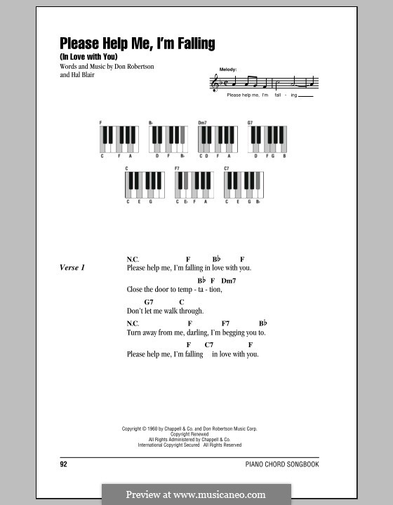 Please Help Me, I'm Falling (In Love with You): Lyrics and piano chords (Hank Locklin) by Don Robertson, Hal Blair
