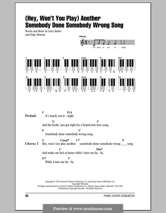Hey, Won't You Play / Another Somebody Done Somebody Wrong Song: Lyrics and piano chords by Chips Moman, Larry Butler
