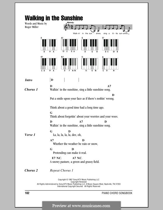 Walking In The Sunshine By R Miller Sheet Music On Musicaneo
