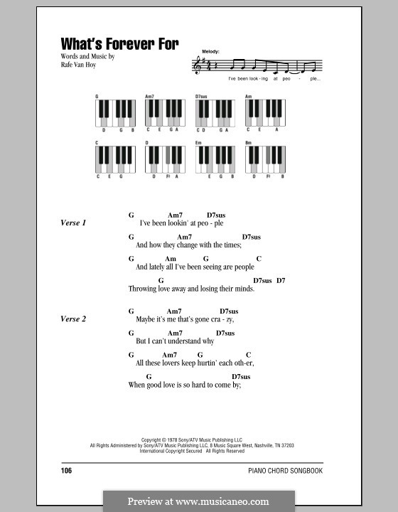What's Forever for (Michael Martin Murphey): Lyrics and piano chords by Rafe Van Hoy