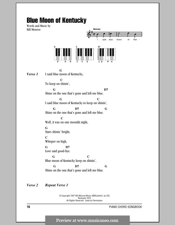 Blue Moon of Kentucky: Lyrics and piano chords by Bill Monroe