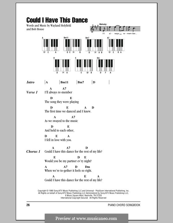 Could I Have This Dance (Anne Murray): Lyrics and piano chords by Bob House, Wayland Holyfield