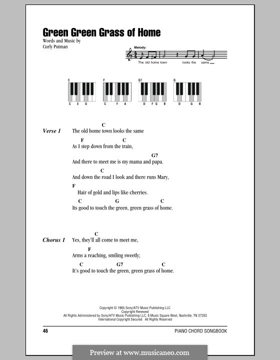 Green Green Grass of Home: Lyrics and piano chords by Curly Putman