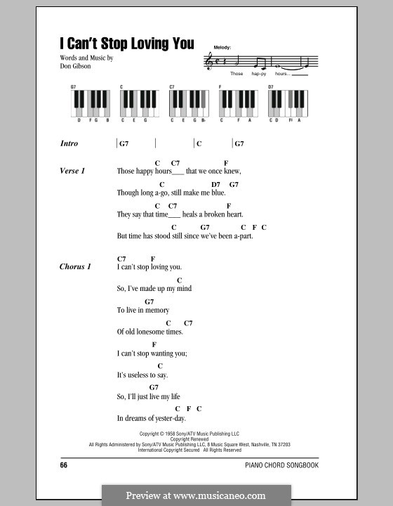 I Cant Stop Loving You By D Gibson Sheet Music On Musicaneo
