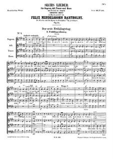 Six Songs, Op.48 : Complete set by Felix Mendelssohn-Bartholdy