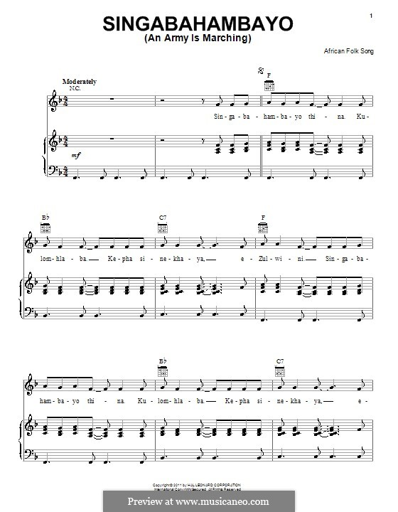 Singabahambayo (An Army Is Marching): For voice and piano (or guitar) by folklore