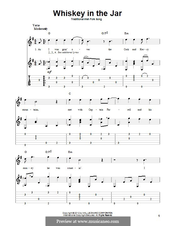 Whiskey in the Jar: For guitar with tab by folklore