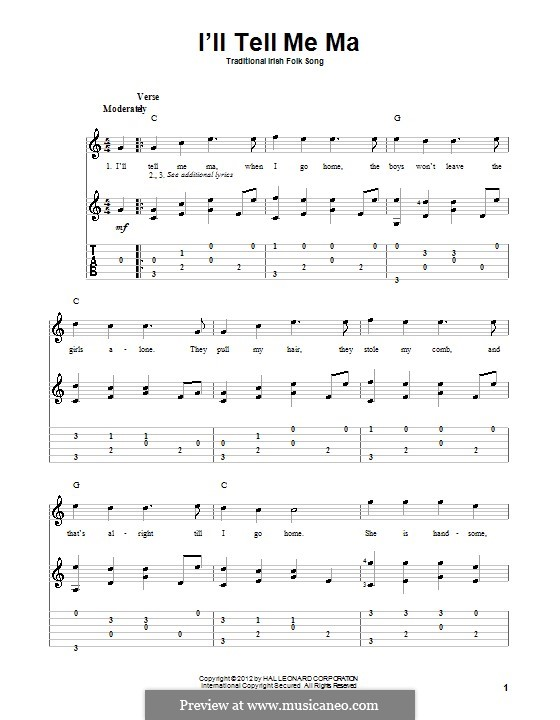 I'll Tell My Ma (The belle of Belfast City): For guitar with tab by folklore