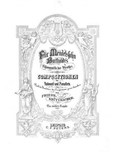 Sonata for Cello and Piano No.2 in D Major, Op.58: Score, part by Felix Mendelssohn-Bartholdy
