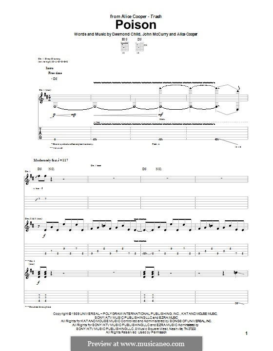Poison: For guitar with tab by Alice Cooper, Desmond Child, John McCurry