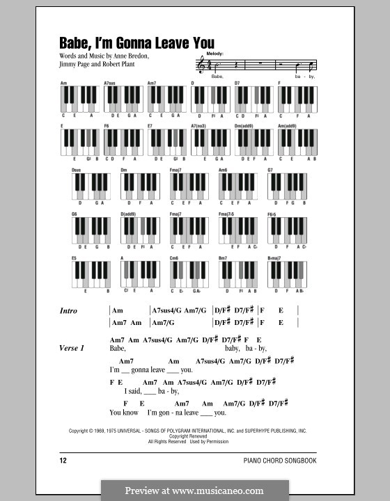 Babe, I'm Gonna Leave You (Led Zeppelin): Lyrics and piano chords by Anne Bredon, Jimmy Page, Robert Plant