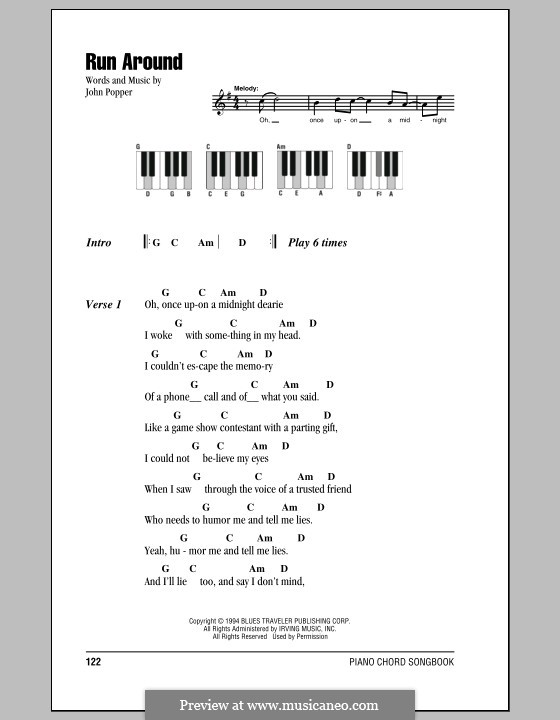 Run Around (Blues Traveler): Lyrics and piano chords by John Popper