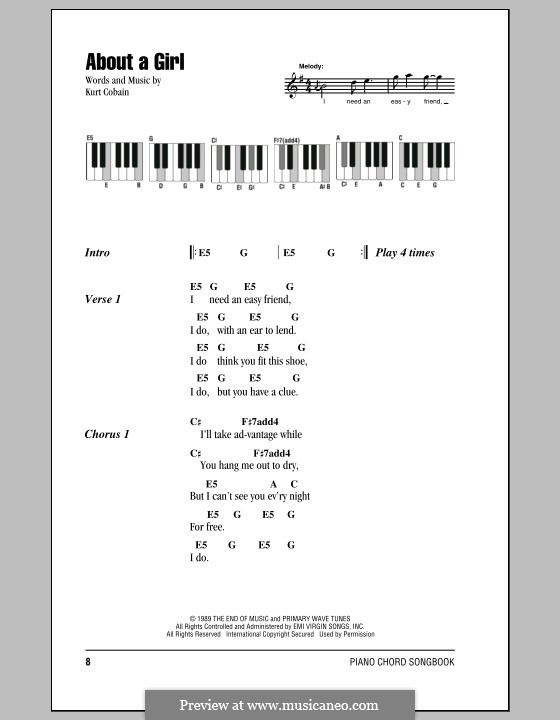 About a Girl (Nirvana): Lyrics and piano chords by Kurt Cobain