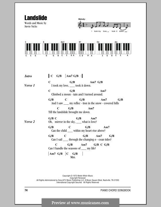 Landslide (Fleetwood Mac): Lyrics and piano chords by Stevie Nicks