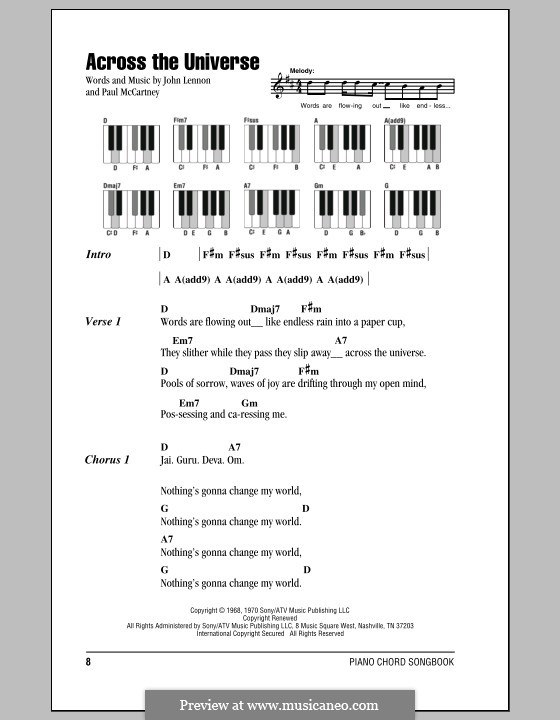 Across the Universe (The Beatles): Lyrics and piano chords by John Lennon, Paul McCartney