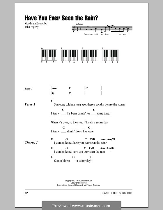 Have You Ever Seen the Rain? (Creedence Clearwater Revival): Lyrics and piano chords by John C. Fogerty