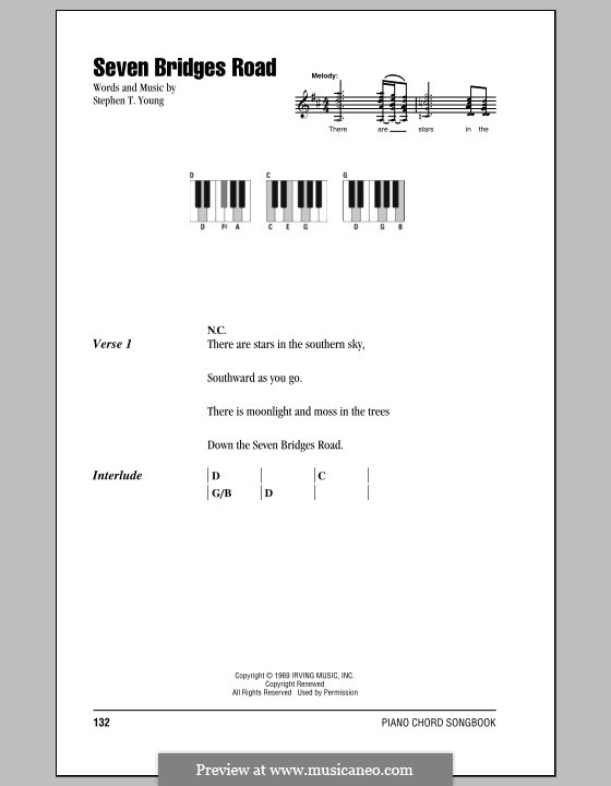 Seven Bridges Road (The Eagles): Lyrics and piano chords by Stephen T. Young