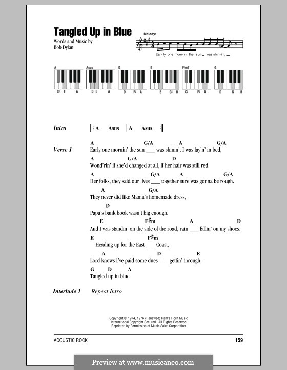 Tangled Up In Blue By B Dylan Sheet Music On Musicaneo
